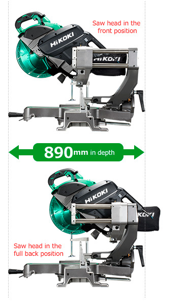 Compact slide system with large cutting capacity